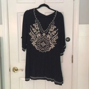 AEO Black midi dress with white embroidery